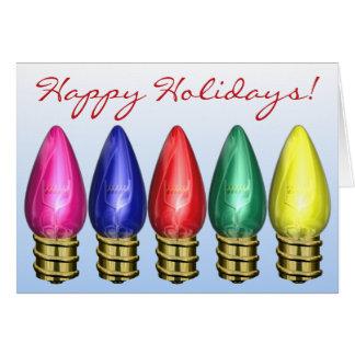 Cartão Natal festivo das ampolas do feriado