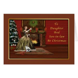 Cartão Natal, filha e genro antiquados
