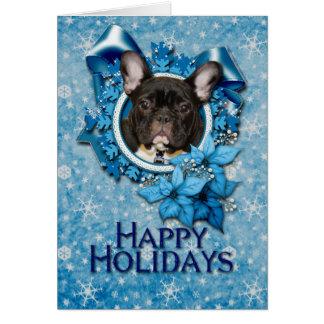 Cartão Natal - floco de neve azul - buldogue francês -