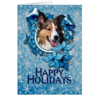 Cartão Natal - floco de neve azul - Sheltie