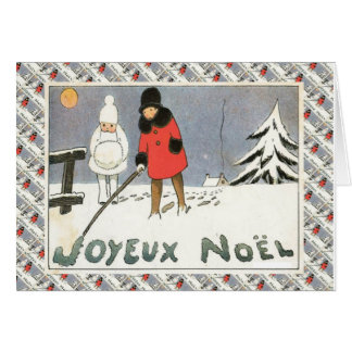 Cartão Natal francês do vintage, crianças na neve