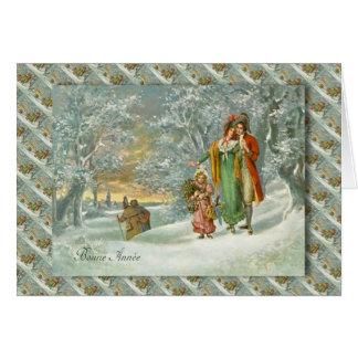 Cartão Natal francês do vintage, família na floresta