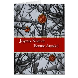 Cartão Natal francês, ornamento na neve