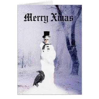 Cartão Natal gótico engraçado do boneco de neve