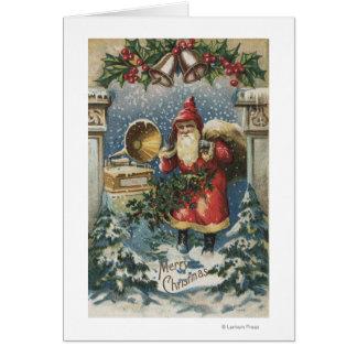 Cartão Natal GreetingSanta e jogador gravado