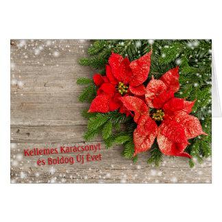 Cartão Natal húngaro - árvore de Natal, poinsétia