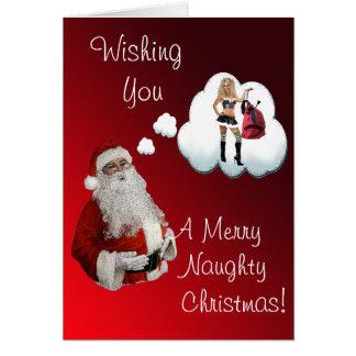 Cartão Natal impertinente de Naugty do papai noel