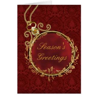 Cartão Natal incorporado do damasco vermelho do ouro