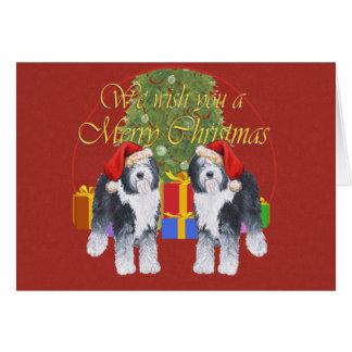 Cartão Natal inglês velho do Sheepdog