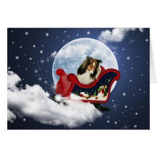 Cartão Natal mágico Sheltie