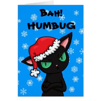 Cartão Natal mal-humorado da farsa de Bah do gato preto