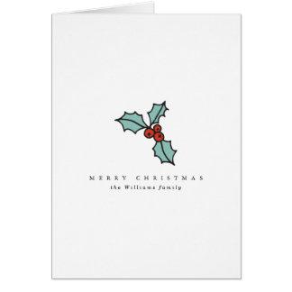 Cartão Natal minimalista da baga do azevinho