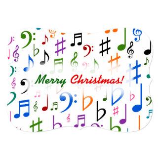 Cartão Natal; Muitos notas e símbolos coloridos da música