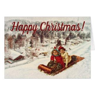 Cartão Natal nevado do Victorian do vintage pelo Mac de