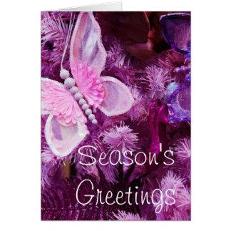 Cartão Natal no rosa e no roxo