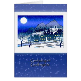 Cartão Natal norueguês, deus julho, vila nevado