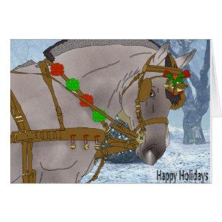 Cartão Natal norueguês do cavalo do fiorde