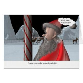 Cartão Natal: O papai noel lambe o pólo