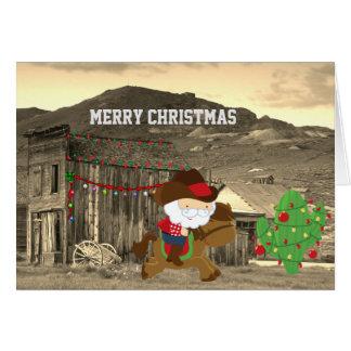 Cartão Natal ocidental bonito do cavalo de equitação do