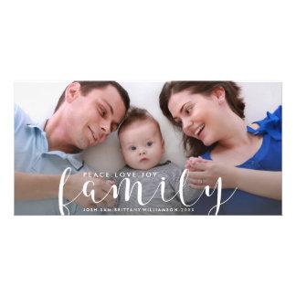 Cartão Natal ou ano novo de foto de família feliz do