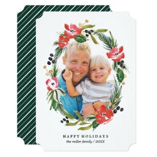 Cartão Natal oval floral da foto | da aguarela chique