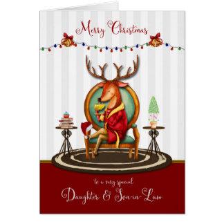 Cartão Natal para a filha e o filho na rena da lei