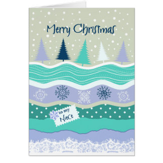 Cartão Natal para a sobrinha - abeto, flocos de neve,