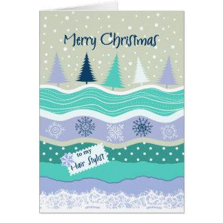 Cartão Natal para o cabeleireiro, laço das árvores dos