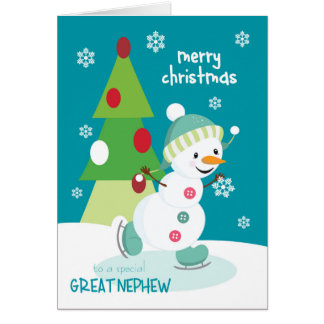 Cartão Natal para o grande boneco de neve do patinagem no