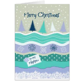 Cartão Natal para o sobrinho - flocos de neve, abeto