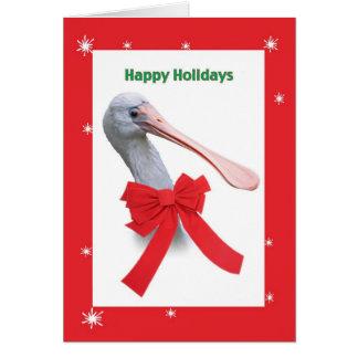 Cartão Natal, pássaro cómico do Spoonbill
