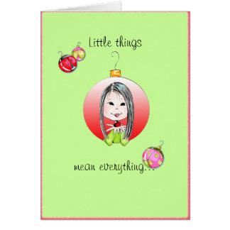 Cartão Natal pequeno das coisas - opção longa do cabelo