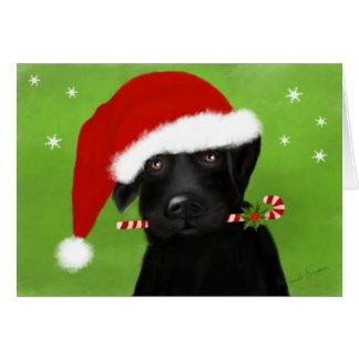 Cartão Natal pequeno Labrador do ajudante do papai noel