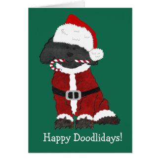 Cartão Natal personalizado Labradoodle Papai Noel