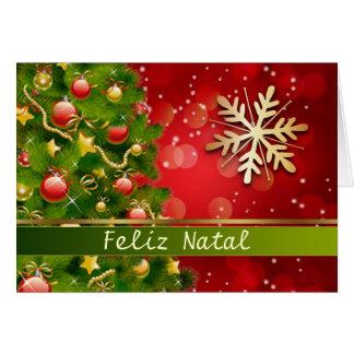 Cartão Natal português - árvore, baubles, flocos de neve