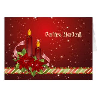 Cartão Natal português - poinsétia e velas