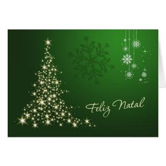 Cartão Natal português, verde & árvore sparkling do ouro