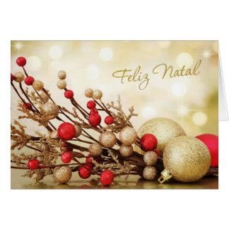 Cartão Natal português - vermelho e baubles do ouro