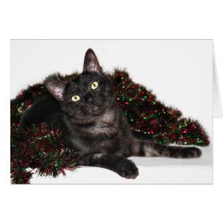 Cartão Natal preto do gato do fumo