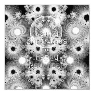 Cartão Natal preto e branco do teste padrão dos Fractals