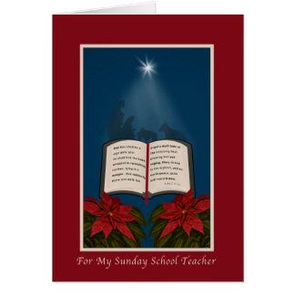 Cartão Natal, professor de catequese, bíblia aberta