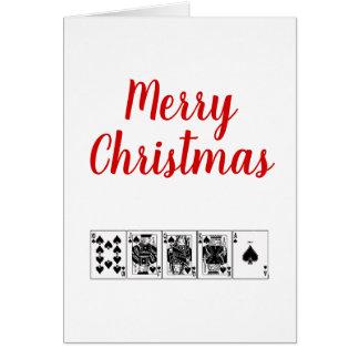 Cartão Natal real do resplendor reto do póquer da noite