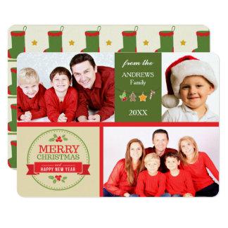 Cartão Natal retro verde do modelo da foto das imagens do
