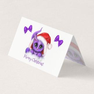 Cartão Natal roxo de Meowy do gatinho