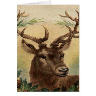 Cartão Natal rústico da natureza do veado do fanfarrão