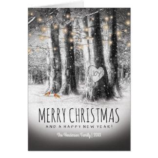 Cartão Natal rústico do inverno, robins & luzes da corda