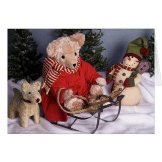 Cartão Natal Sledding do urso & dos amigos de ursinho