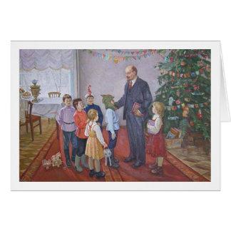 Cartão Natal socialista do realismo do vintage com Lenin