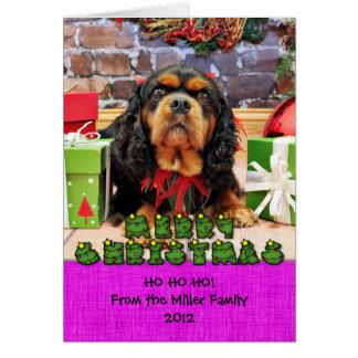 Cartão Natal - Spaniel de rei Charles descuidado SweetPea