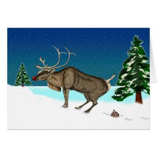 Cartão Natal tardivo engraçado, tombadilho dos cervos,